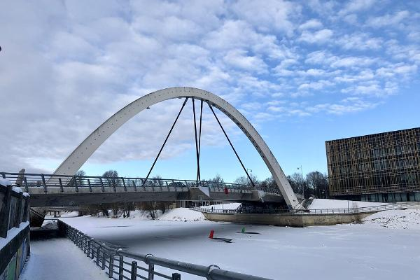 Freedom Bridge in winter