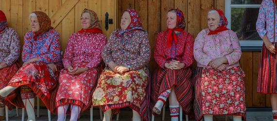 Kihnu women in traditional clothes
