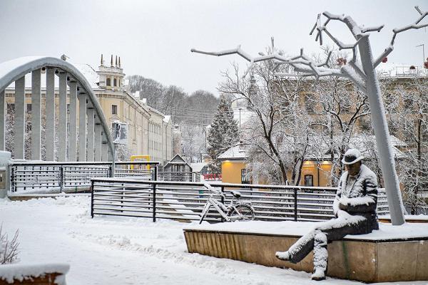 Lydia Koidula och Johann Voldemar Jannsens minnesplats på vintern