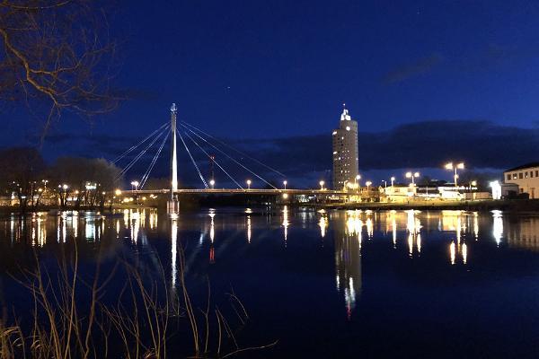 Turusild Bridge at night