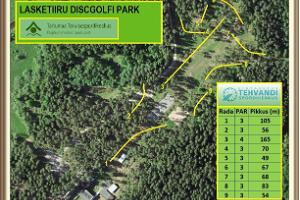 Disc golf park at Tartu County Recreational Sports Centre, course scheme