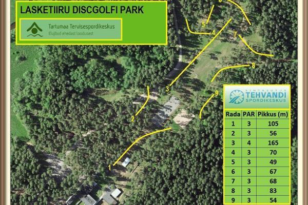 Парк для игры в диск-гольф в Тартумааском центре оздоровительного спорта: схема тропы