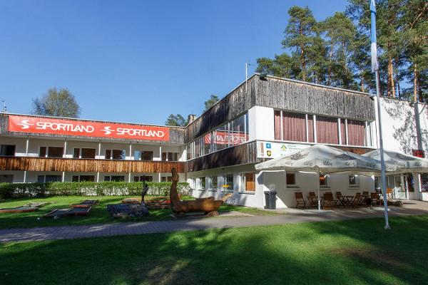 The main building of Tartu County Recreational Sports Centre with a café and rental
