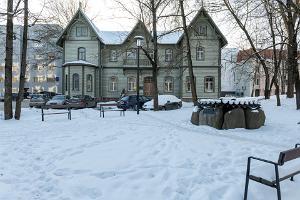 """Stalinismin uhrien muistomerkki """"Rukkilill"""" talvella"""