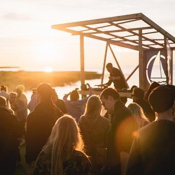 Sunset in music festival