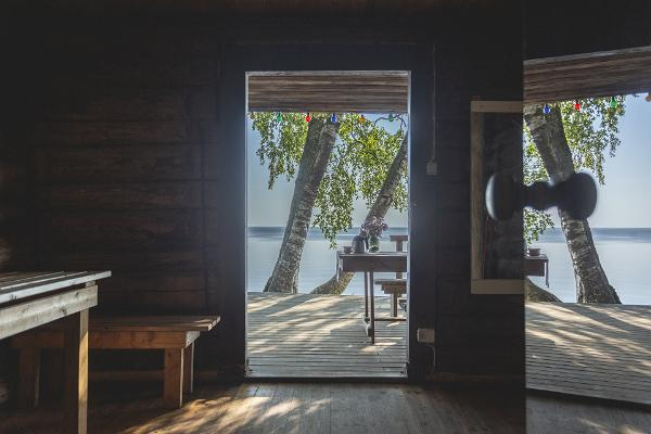 Ranna Recreation Centre, sauna anteroom, view of the terrace and Lake Peipus