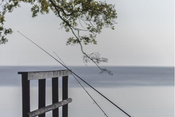 Ranna Recreation Centre, sauna house terrace and fishing rods