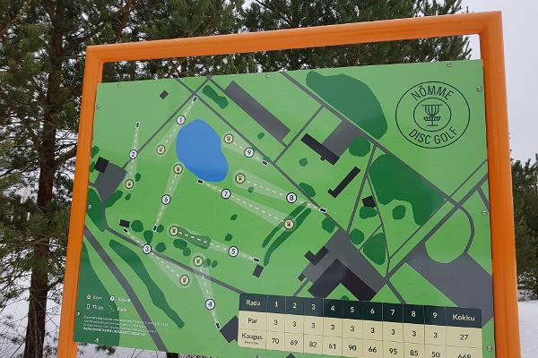 Kohtla-Nõmme disc-golfi raja skeem