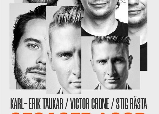 Kontserdi plakat, mille peal Karl-Erik Taukar, Victor Crone ja Stig Rästa