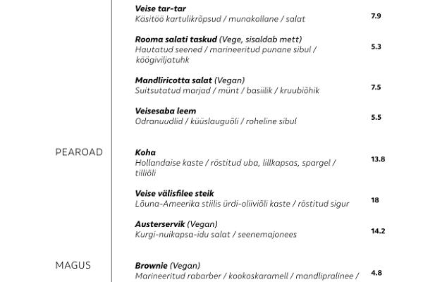 Restorāna KODAS ēdienkarte (uzkodas, pamatēdieni, deserti, bērniem)