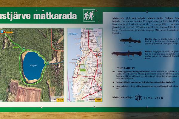 Trail map at the starting point of the hiking trail