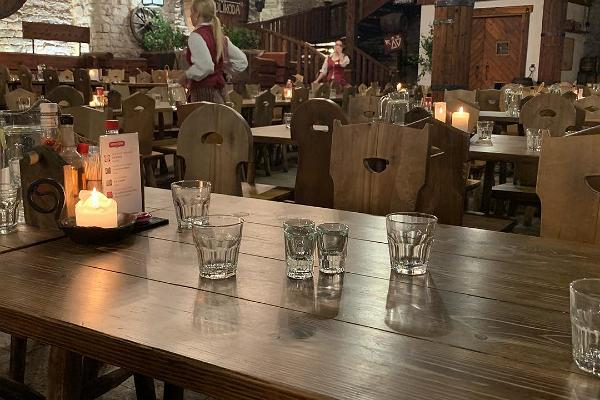 Wooden table with glasses