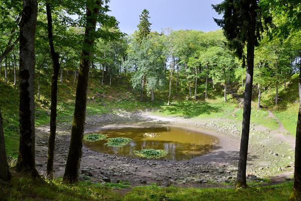 Crater, water, trees