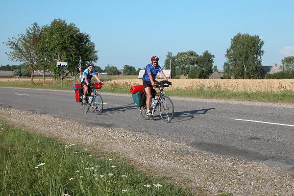 Cyclists on a bike route