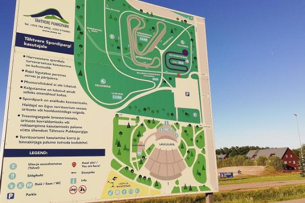 Tähtveren urheilupuiston kuntopolkujen kartta