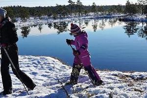 Guidad snöskovandring på Koitjärve högmosse
